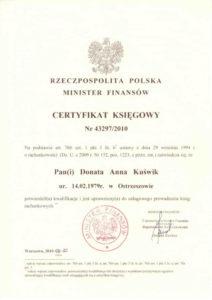 Certyfikat Księgowy DK Biuro Rachunkowe